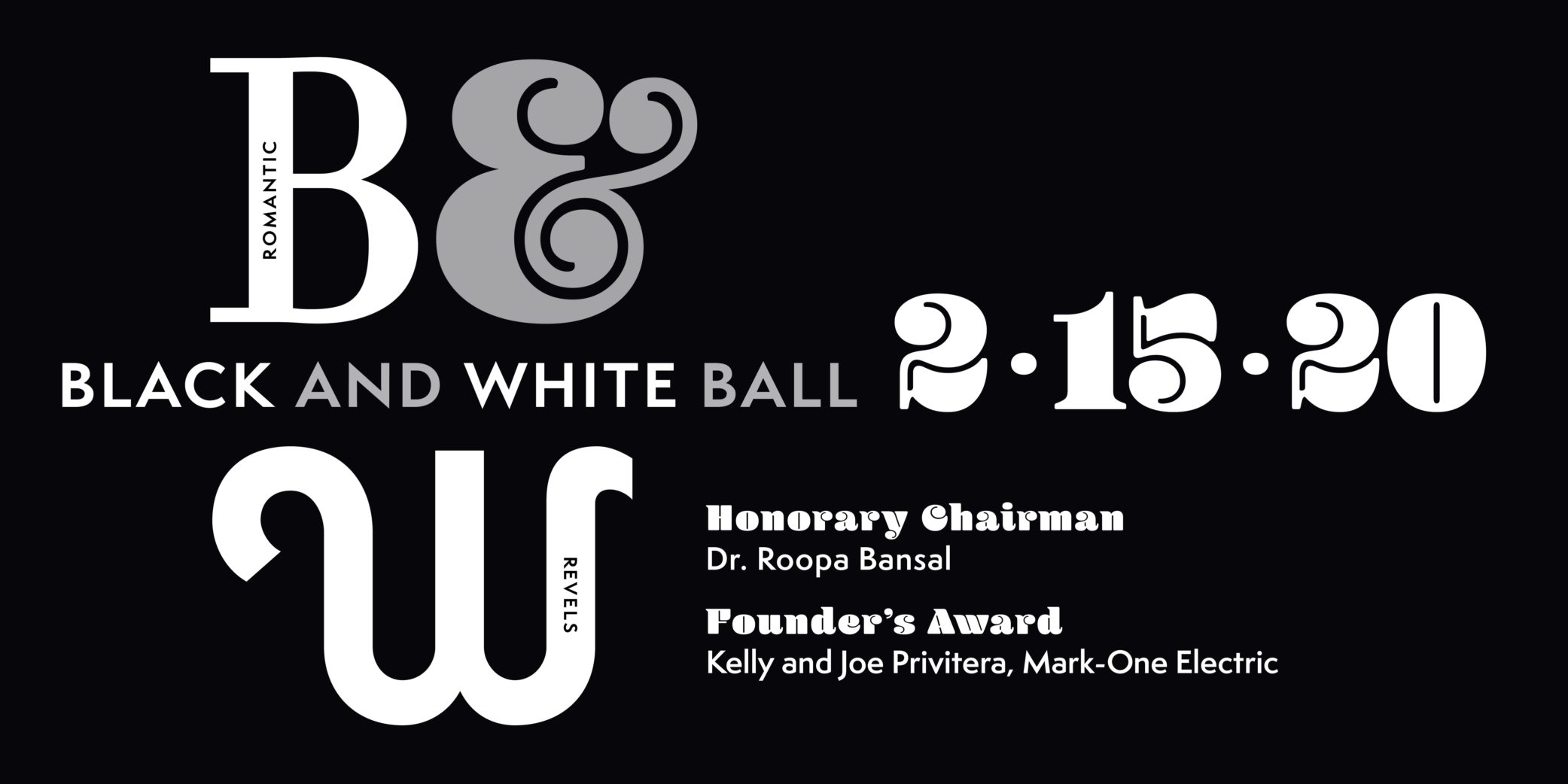 Black and White Ball 2-15-20, Heart of America Shakespeare Festival Romantic Revels, Dr. Roopa Bansal, Kelly and Joe Privitera, Mark-One Electric